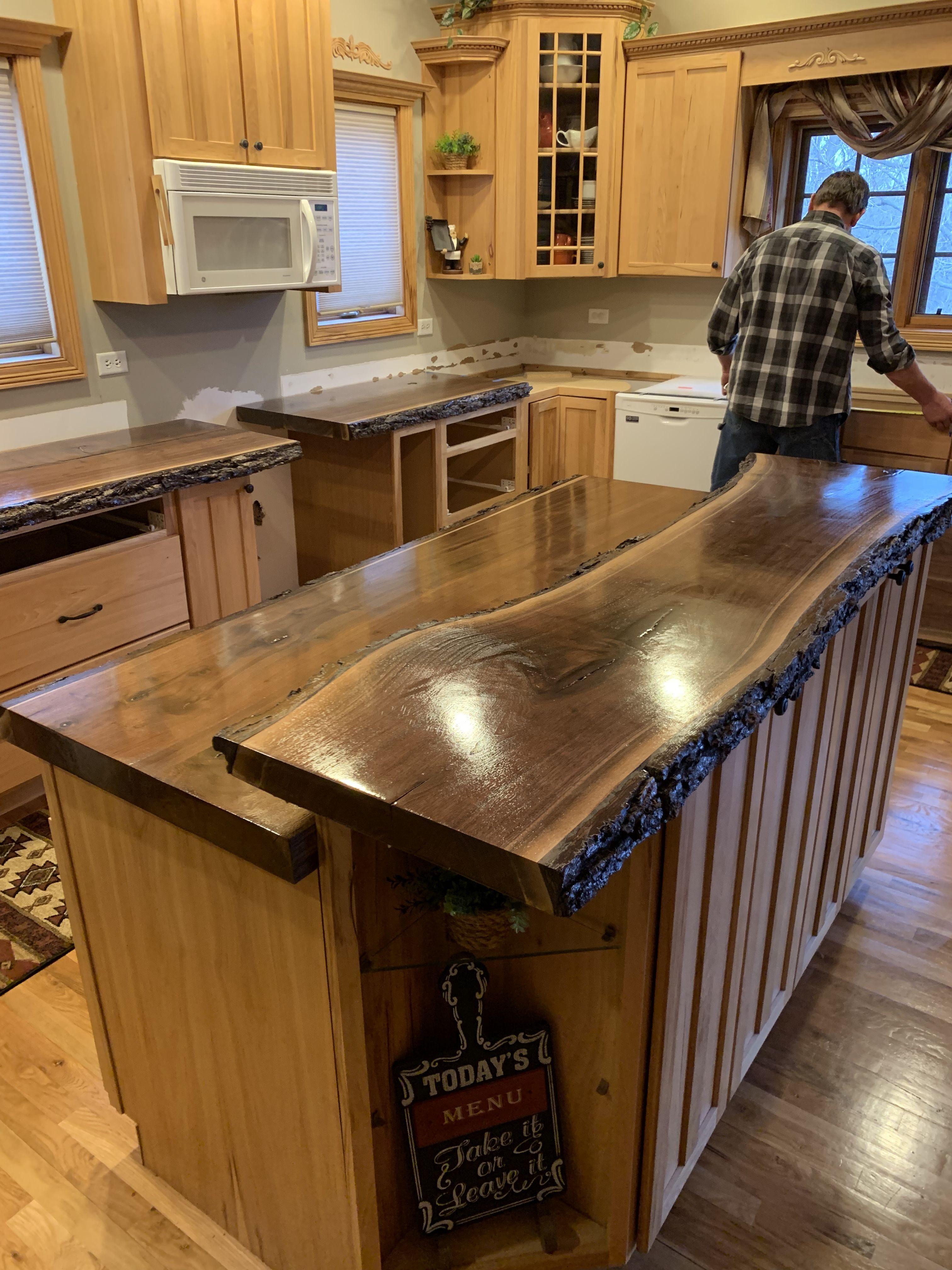 Live Edge Kitchen Countertop With Bark 2 1 2 Rdquo Solid Walnut