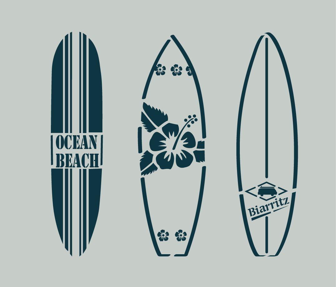 pochoir en vinyle adh sif planches de surf bord de mer ref 85 d coration d 39 int rieur par. Black Bedroom Furniture Sets. Home Design Ideas