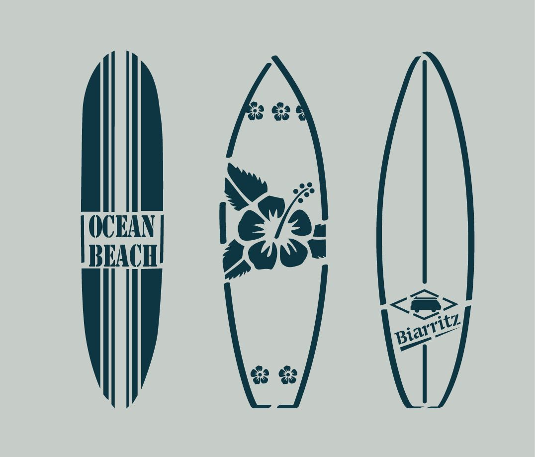Pochoir en vinyle adh sif planches de surf bord de mer - Table planche de surf ...
