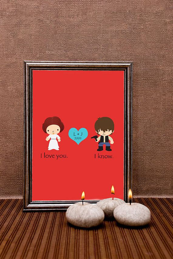 Star Wars Wedding Anniversary Gift Han Solo And Princess Leia Paper 16x20 Personalized House Warming On Etsy 38 00
