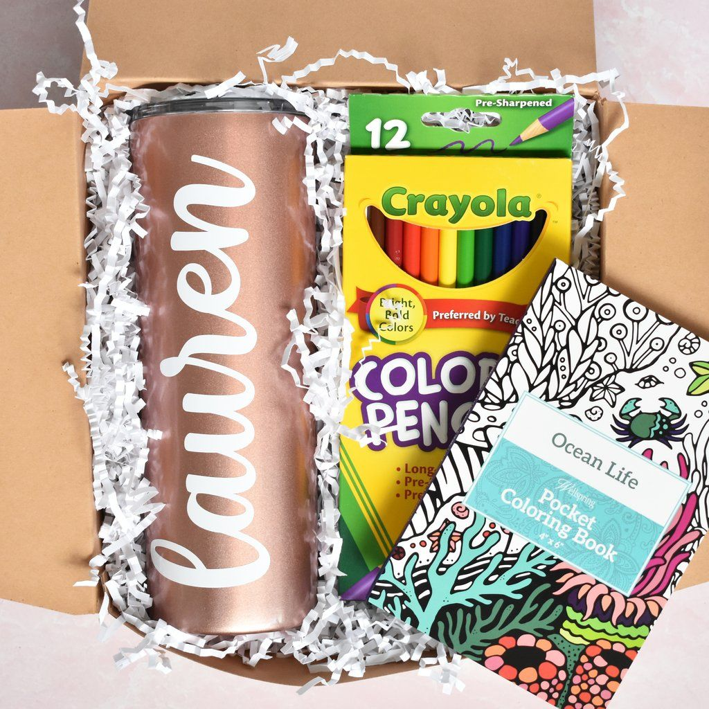 Self Care Coloring Gift Box Box Babe Gift Co In 2020 Coloring Books Gifts Just Because Gifts Pocket Coloring Book
