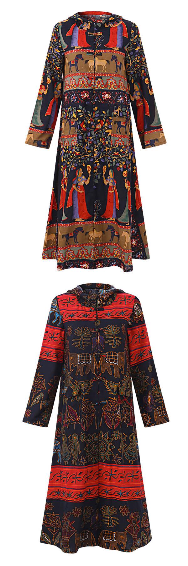 Gracila women printed frog buttons long sleeve hooded coat winter