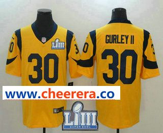8d37ab860b3 Men s Los Angeles Rams  30 Todd Gurley Gold 2019 Super Bowl LIII Patch Color  Rush Stitched NFL Nike Limited Jersey