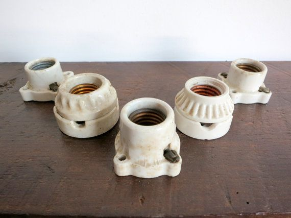 Antique Porcelain Light Socket Set by EastonandBelt on Etsy