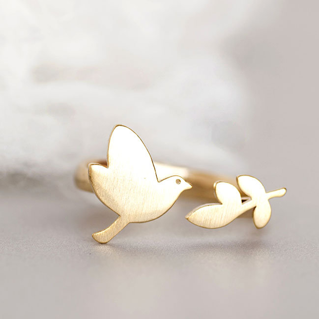 Matoto ring Gold Bird Leaf Ring Gold Bird Leaf Ring