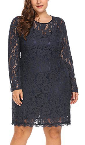 ea003dc622d Vpicuo Women s Plus Size Elegant Flare Long Sleeve Lace Bodycon Cocktail  Party Dresses