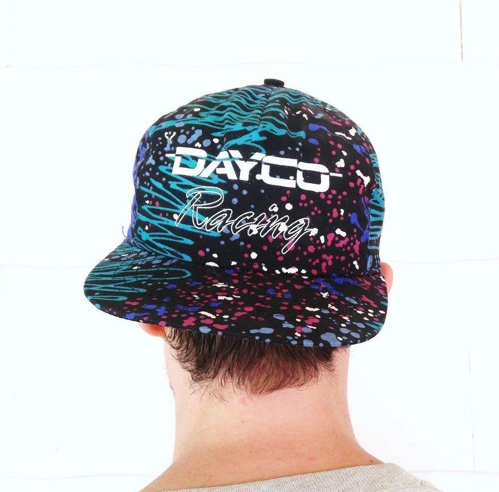 c43c79435e6 VTG DAYCO Racing Hat 80s 90s Paint Splatter Black Cap Adjustable Snapback  Retro  Swingster  BaseballCap
