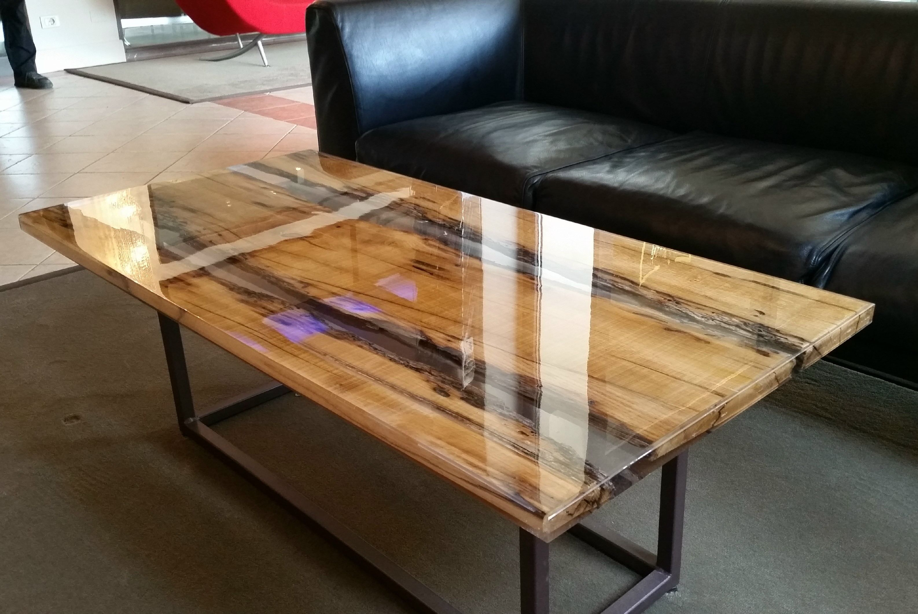 Rectangular solid wood coffee table WOOD AND RESIN