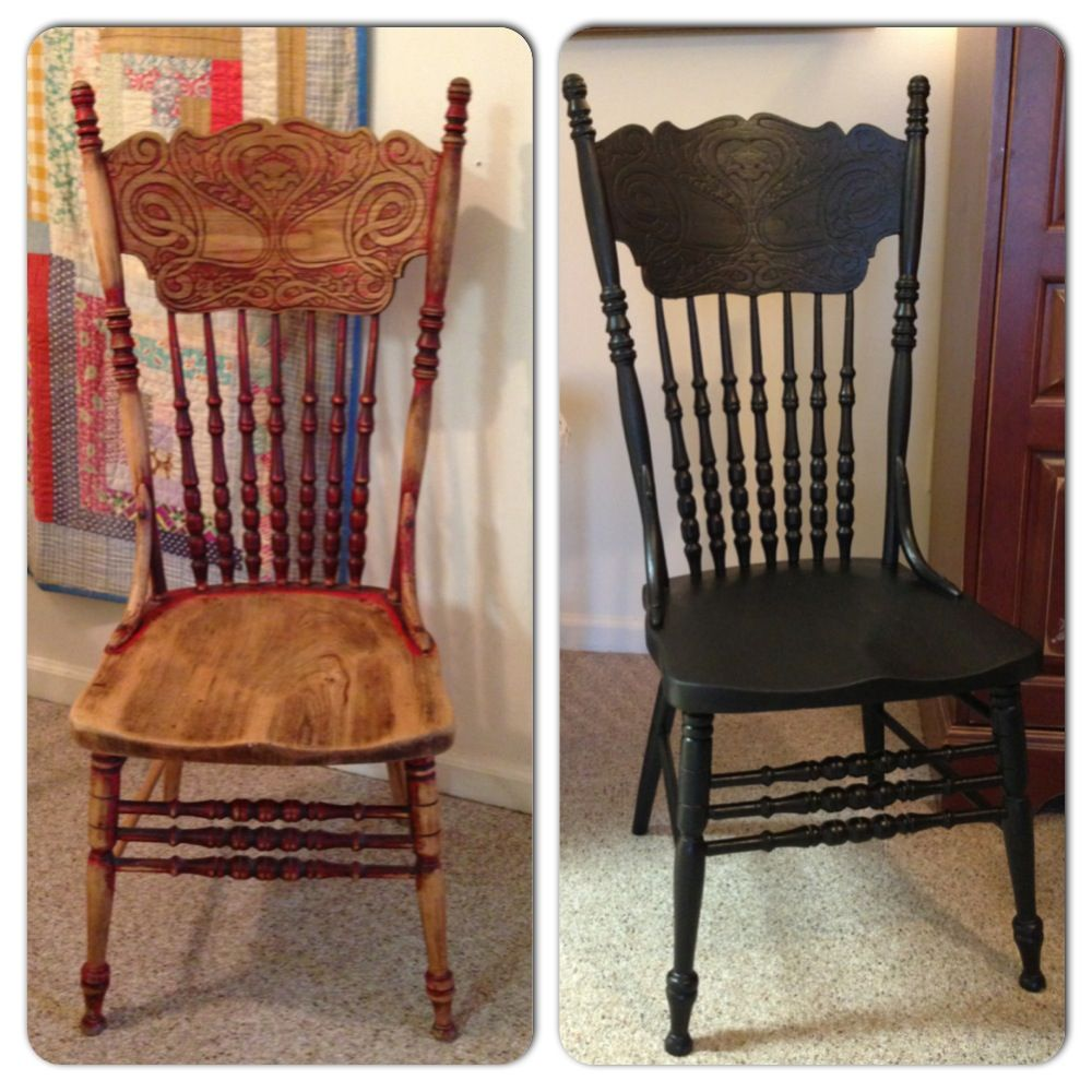 I Painted My Over 100 Year Old Press Back Chair Black Love It Wood Chair Makeover Dining Chair Makeover Kitchen Chair Makeover