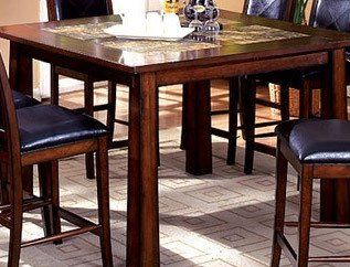 Living Stone StoneTop Counter Height Dining Room Table In Tobacco - Stone top counter height table