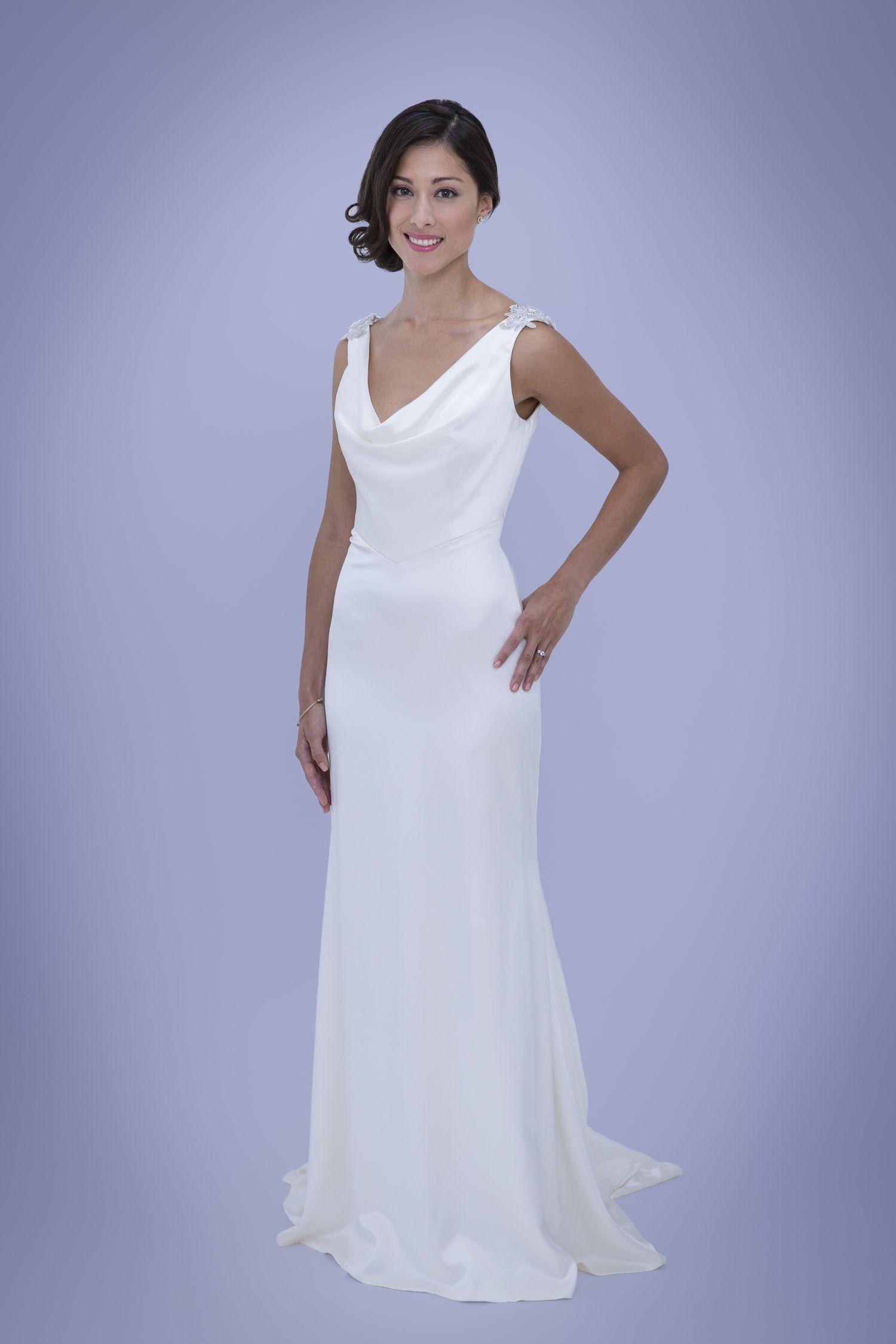 Wedding Dresses San Francisco   Mildred Cowl Neck Silk Wedding Dress Perfect For Old Hollywood