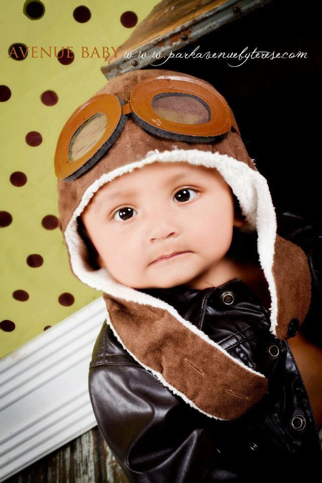 f84968452 AVIATOR Pilot Hat w  Faux Goggles Toddler Childrens Photography Prop ...