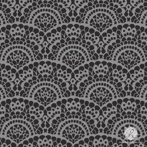 this lace wall art stencil is perfectly sized for craft fabric and furniture diy stencil projects for spooky halloween party decorations or cute nursery - Halloween Lace Fabric