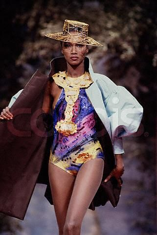 The Senegalese Model Katoucha Wears A Multicolored One Piece And Pastel Blue Jacket From Christian Lacroix S Spring Summer Fashion Fashion Spot Fashion Models