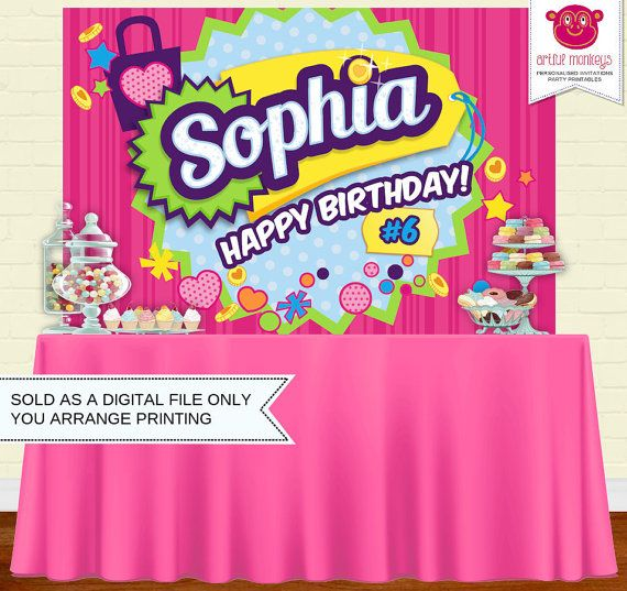 Shopkins Birthday Banner Shopkins Party Banner: Printable Shopkins Inspired Party Backdrop Party By