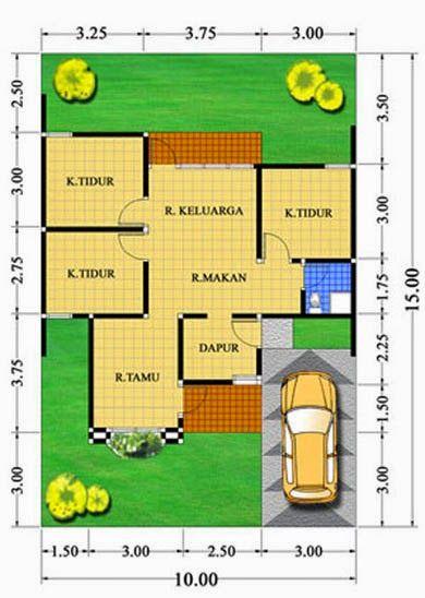 denah rumah minimalis type 70 1 lantai 4