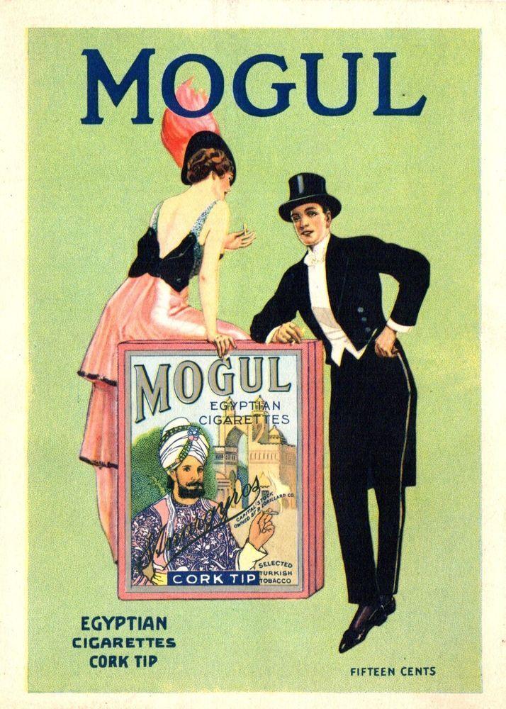1914 MOGUL EGYPTIAN CIGARETTES COLOR LITHOGRAPH PRETTY LADY ADVERTISEMENT