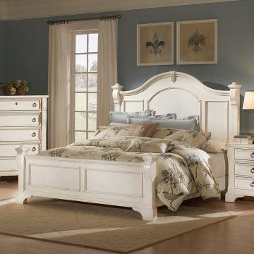 American Woodcrafters Heirloom Mansion Poster Bed Antique White