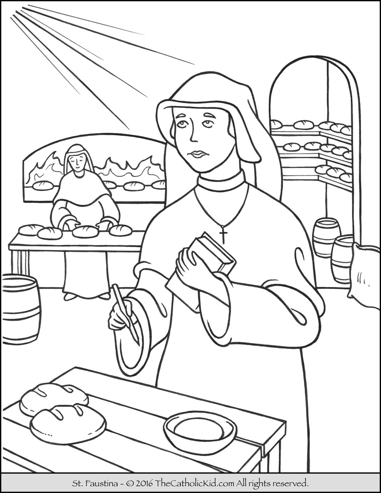 Saint Faustina Coloring Page - The Catholic Kid | Catholic Saints ...