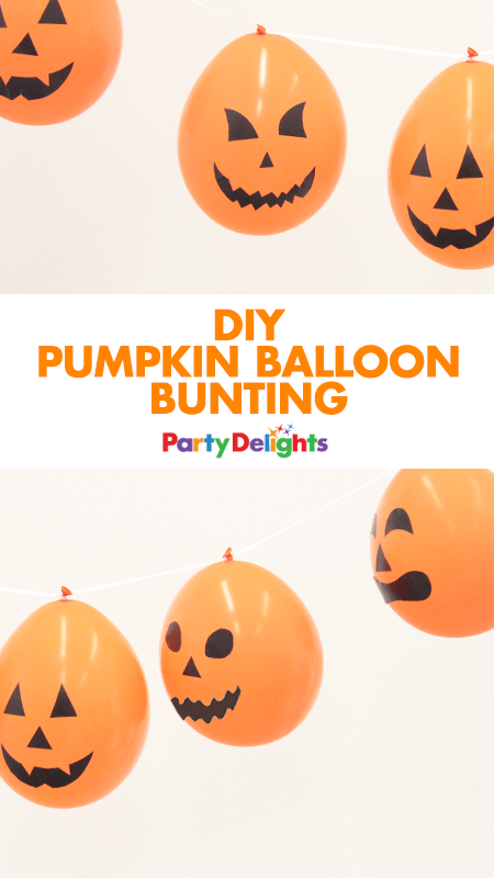 Here's an easy DIY Halloween decoration! Take some plain orange balloons and decorate them with our free printable pumpkin faces. This DIY pumpkin balloon bunting takes minutes to make and it's a super cheap way to decorate your Halloween party!