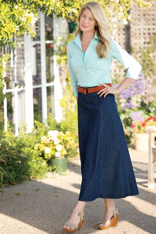 Long Denim Skirt   Chadwicks of Boston
