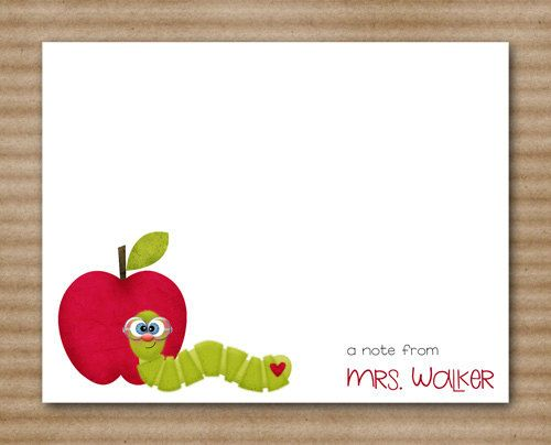 Teacher Apple Worm Note Cards / Notecards / by PaperHouseDesigns, $12.00