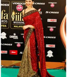 Buy Deepika Iifa Red Embroidered Georgette Saree With Blouse Deepika Padukone Saree Online Indian Outfits Saree Designs Indian Fashion