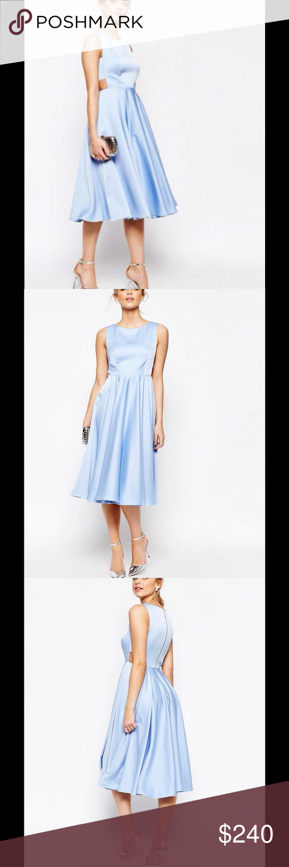 """Luca Cut Out Midi Full Skirt Dress Ted Baker Dresses Powder Blue  Details: Ted Baker womenswear collection Cut-out detail Fit and flare Midi length Sleeveless Exposed zip at back Our model is 5'9.5"""" and wears a size 1 Care & Fabric:  Fabric Content: Shell: 100% Polyester; Lining: 96% Polyester, 4% Elastane Care information: Dry clean only Ted Baker Dresses Midi"""