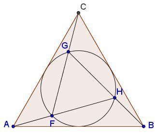 Triangles ABC and FGH are equilateral, with the circumcircle (FGH) being the incircle of ΔABC in such a manner that F is on AH, G on CF, and H on BG.  Then FHAF=GHBH=FGCG=ϕ, the golden ratio. Geometria Basica, Numero Aureo, Geometria Divina, Arte Barroca, Nombre D'or, Símbolos Ocultos, Proporcion Aurea, Flor De La Vida, Esquemas Electricos