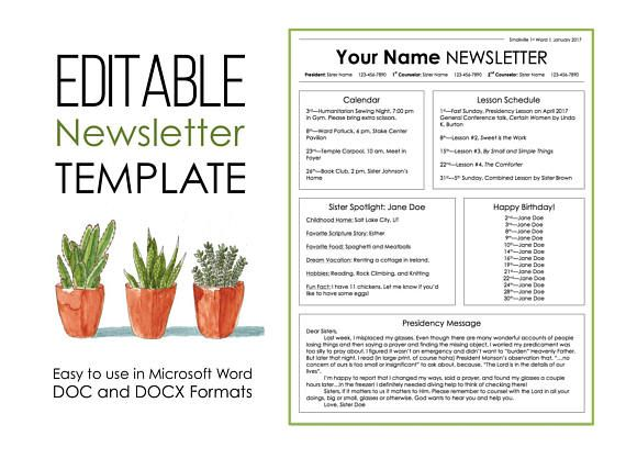 Newsletter Template for Microsoft Word EDITABLE Instant Relief