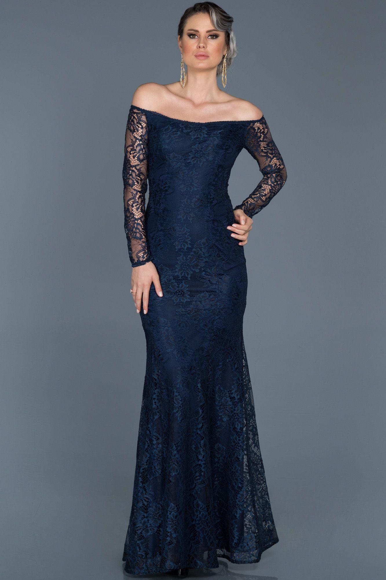 Lacivert Uzun Kollu Dantelli Balik Abiye Abu011 Elbise Modelleri Elbise Moda Stilleri