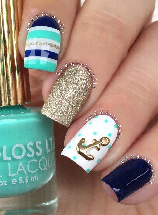 55 Stripes Nail Art Ideas | Teal blue, White nail polish and Amazing ...