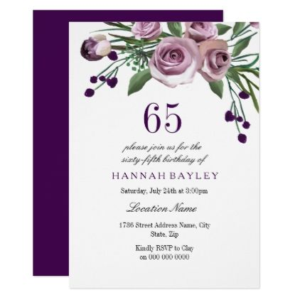 Elegant Plum Purple Rose 65th Birthday Invitation