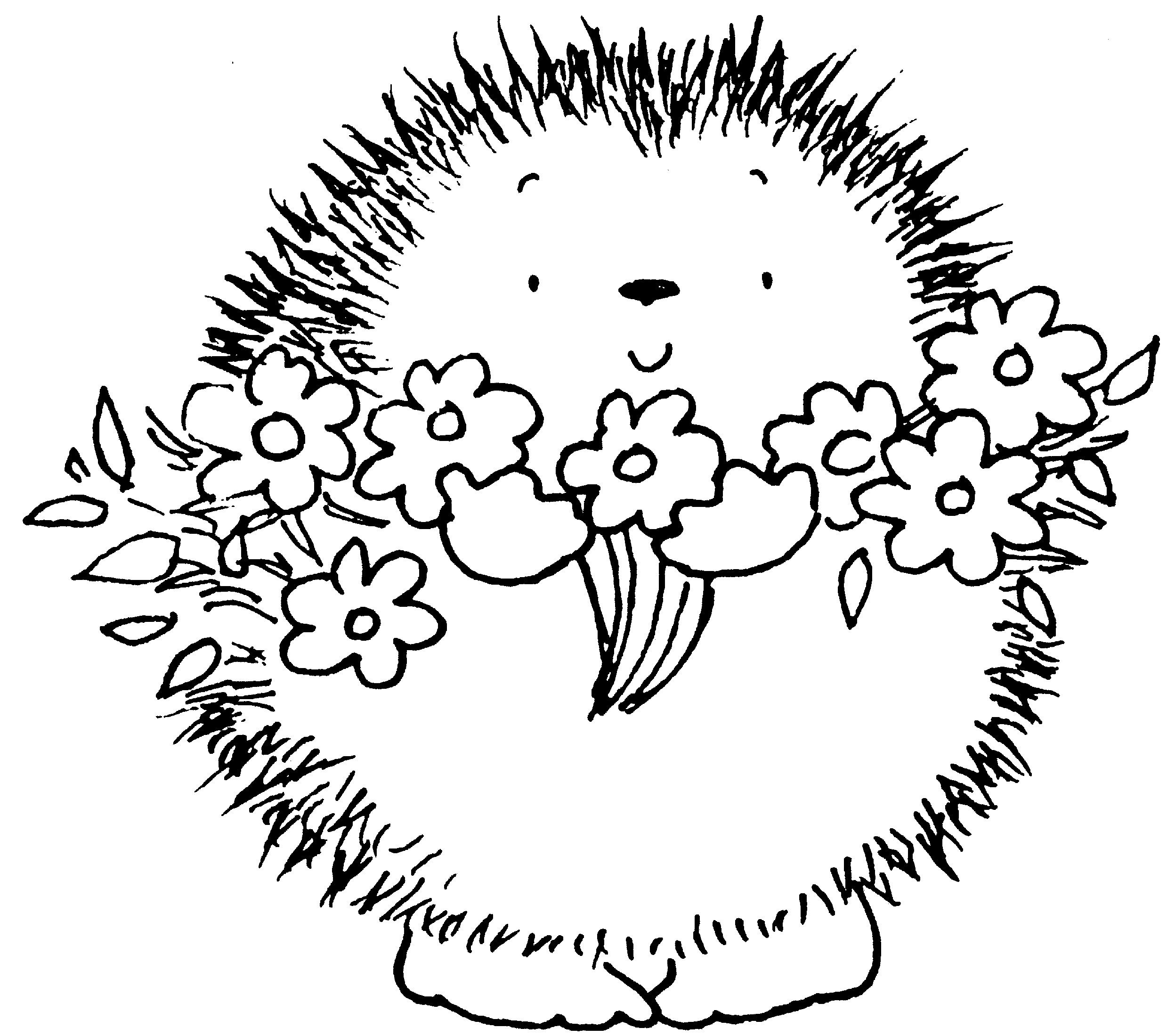 Hedgehog with flowers & TONS of other free digital downloads - I ...