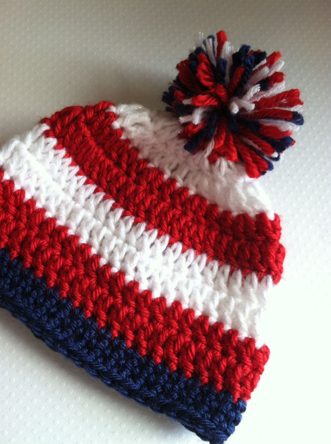 c92cff88fa8 Patriotic Crochet Hat Baby Red White Blue Flag Stripes PomPom Preemie to 2  Year Old Photography Photo Prop.  12.00