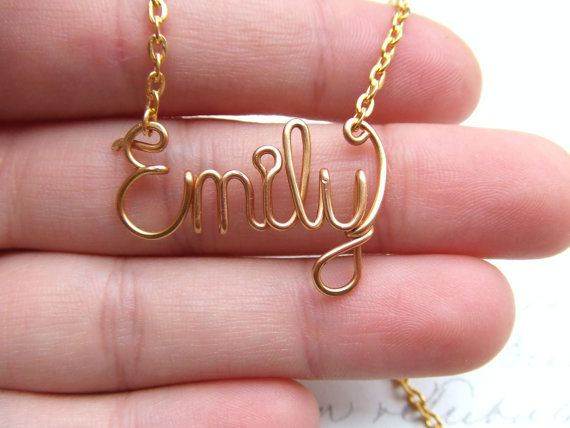 6c54ebc30c90a Name Necklace, 14K Gold Wire Wrapped Personalized Name, Name Jewelry ...
