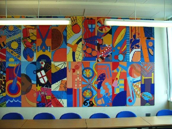 Abstract Sports Mural School Murals Group Art Projects