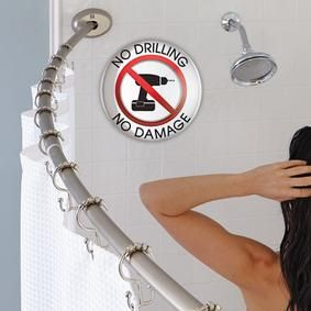 No Drill Curved Shower Rod Is Adjustable And Adds More Space To Your Shower!