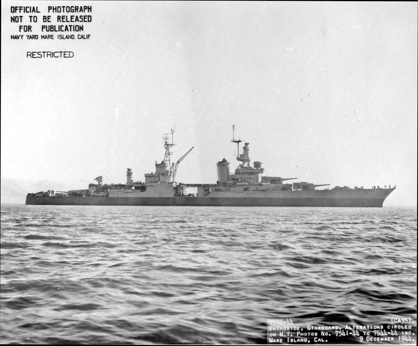 Broadside view of USS Indianapolis (CA 35) off Mare Island on 9 Dec 1944.