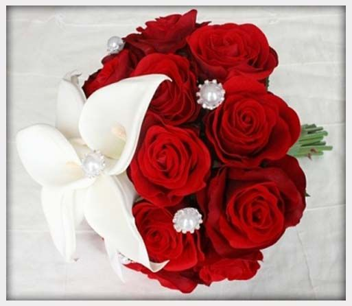 Red Rose And White Flower Wedding Bouquet
