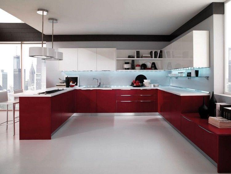 Couleur pour cuisine u2013 105 idées de peinture murale et façade - plan de travail cuisine rouge