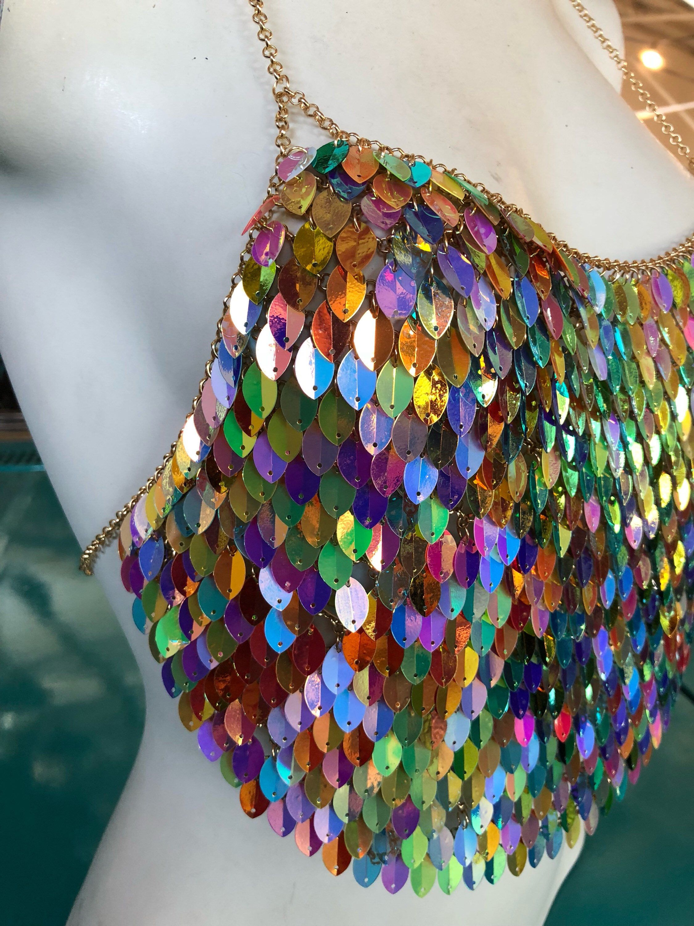 2f963e1ff3 Dragon Scale Sequin Chain Halter Bralette