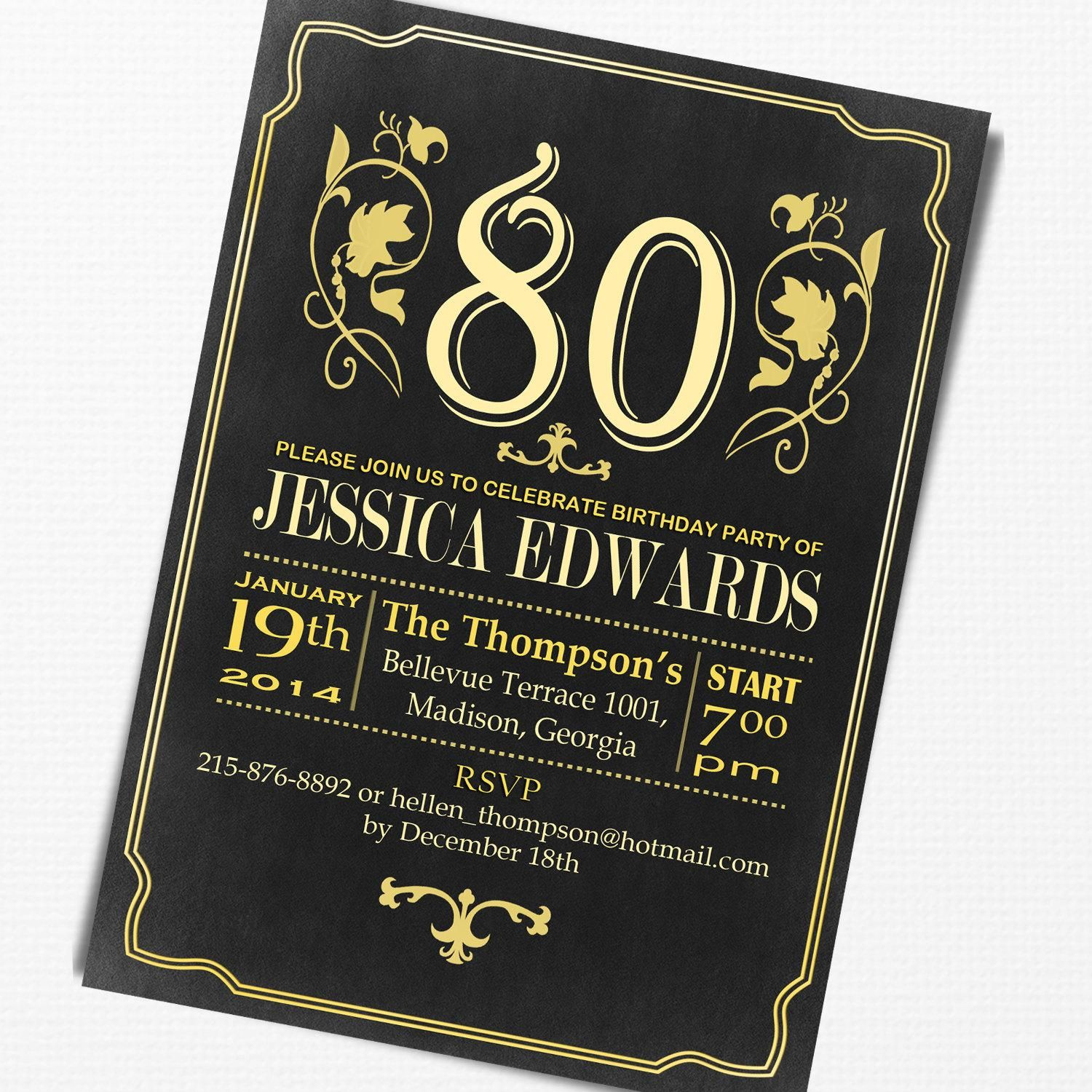 80th Birthday Invitation Free Sample Cards For Elegant Party Party Invite Template 80th Birthday Invitations Birthday Party Invitations Free