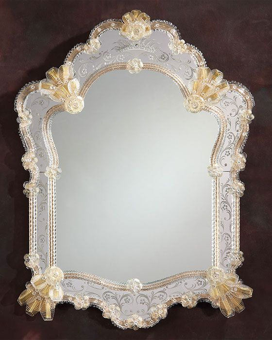 Venetian mirror framed in hand-etched glass with gold highlights ...