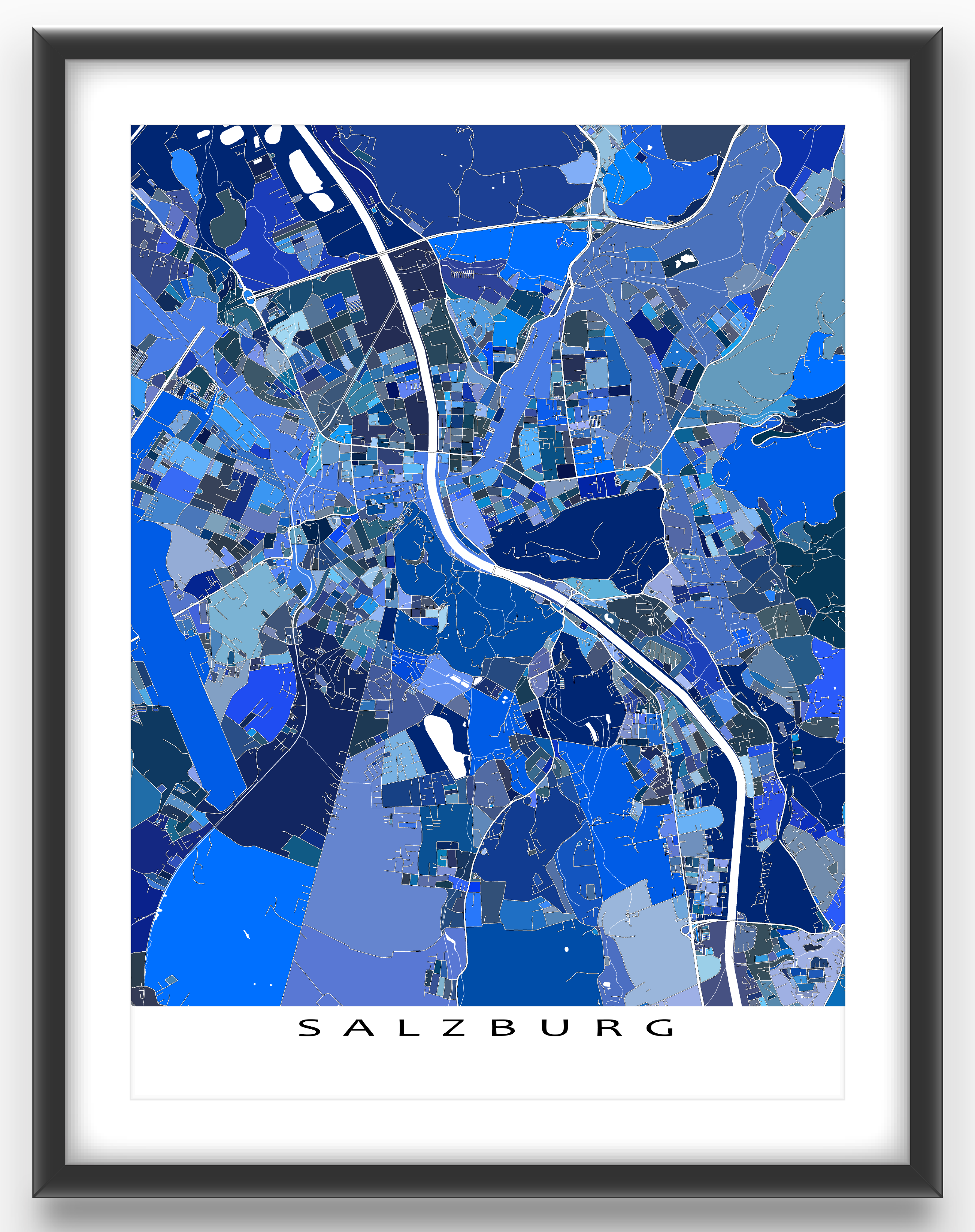 Salzburg map art print featuring the beautiful European city of Salzburg, Austria.     This Salzburg city map has a modern design made from lots of little blue shapes. Each shape is actually a city block or a piece of land that combines with city streets - like a puzzle or mosaic - to form this Salzburg print. #salzburg #austria #map