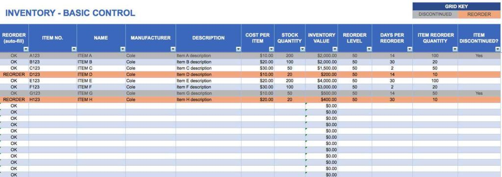 Excel Spreadsheet For Inventory Management Check More At Http Www Pernillahe Inventory Management Templates Spreadsheet Template Project Management Templates