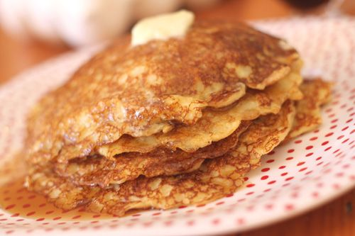 oatmeal pancakes  I used 6 egg whites instead of 7-9 and no sugar substitute. I also added a 1/4 cup of wheat flour. And then topped it with Peanut Butter and Honey. SO DELISH! I got 3 large pancakes out of that. They come out pretty thick so once you pour them in the pan you have to spread the batter around to flatten them a bit.