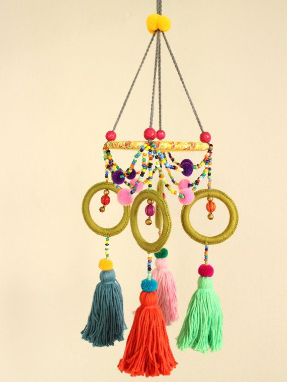 Rings Tassels Round Hanging w Beads, Dream Catcher, Baby Crib, Pompoms, Bells, Orbs, Colorful, Yellow, Green, Pink, Red, Native American