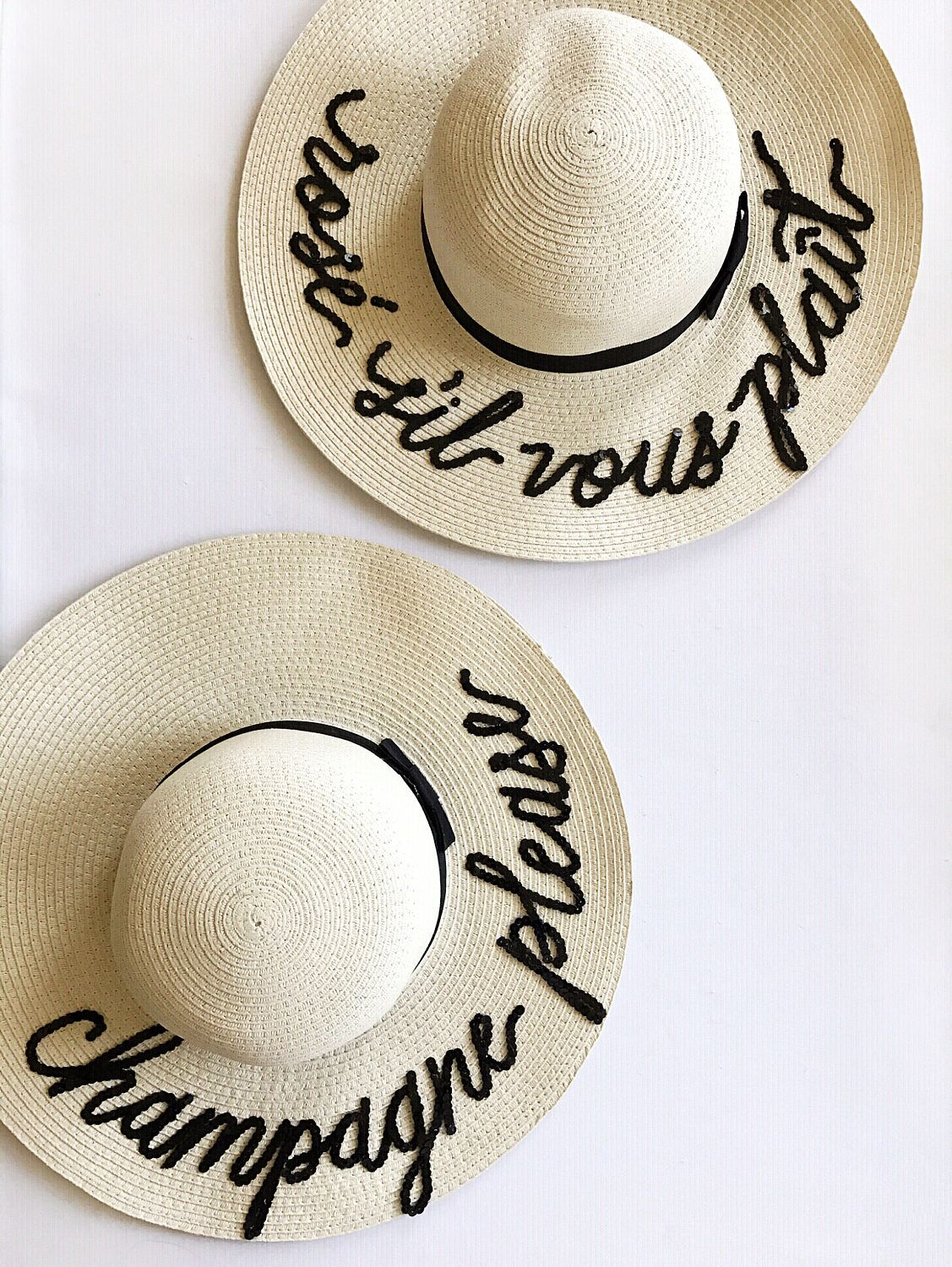 Custom Lettering Straw Sun Beach Hat - Champagne Please I miss my dog by  QuinnLuu on 5320bb2acc21