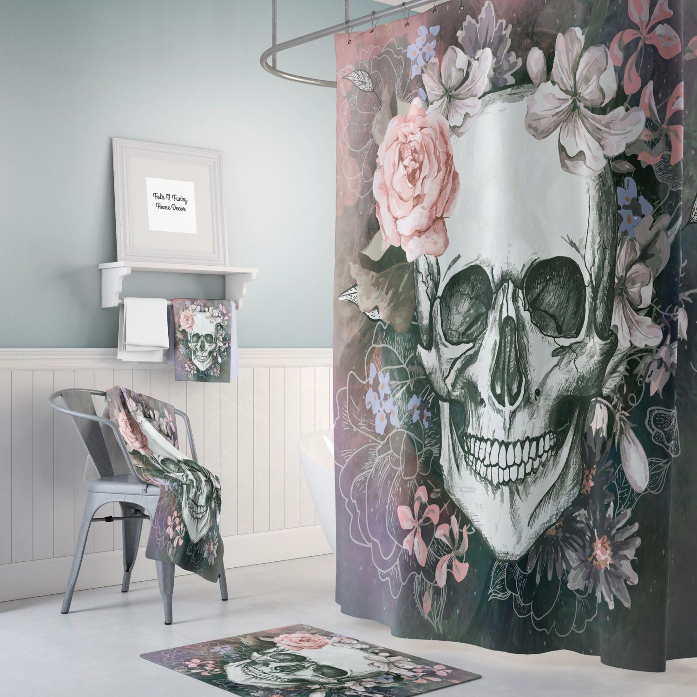 Gray Sugar Skull Shower Curtain